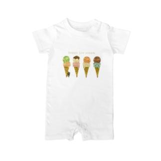 happy ice cream ベイビーロンパース