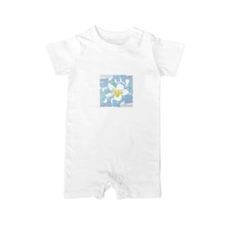 南国のハワイの白い花プルメリアPlumeria Baby rompers