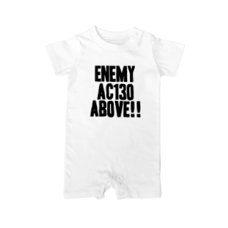 EAA!! OfficialStoreのEnemy AC130 Above!!(white)ベイビーロンパース