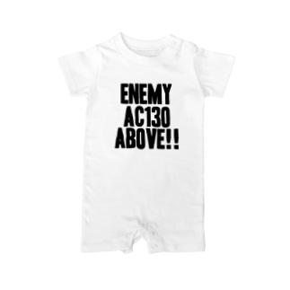 Enemy AC130 Above!!(white) ベイビーロンパース