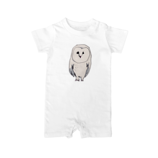 アコルの白いフクロウ ベイビーロンパース