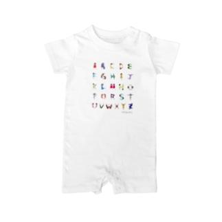 Alphabet Tシャツ(文字大ver.) ベイビーロンパース