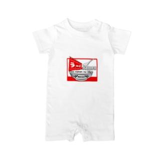 ラーメンTシャツ(魂の一杯:赤) ベイビーロンパース