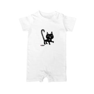 水玉しっぽの黒猫ちゃん ベイビーロンパース