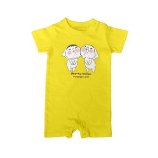 黄色いヤツでばぶぅ ベイビーロンパース