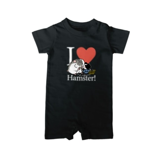 『I♥hamster!』(白文字) Baby rompers