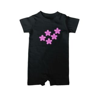 星桜紋(流れ星ピンク) Star cherry blossom Crest (Shooting star pink)) Baby rompers