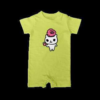 ねこりんストアのねこりんピンクローズ Baby rompers