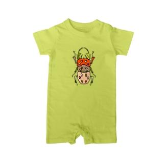 stag beetle (くわがた) Full of vitality (フル オブ バイタリティ) Baby rompers