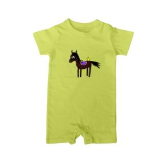 お馬さん。 Baby rompers