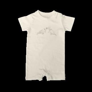 Lily bird(о´∀`о)のセキセイインコと文鳥とクローバー モノクロ① Baby rompers