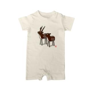 立ち鹿 Baby rompers