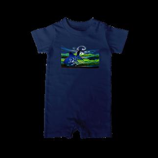 緒弧ラボ SUZURIのきんととゆるり 紺色-2 Baby rompers