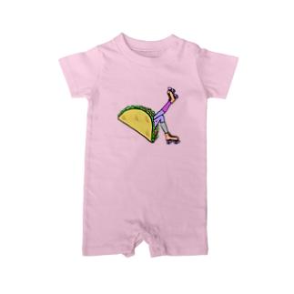 タコス ローラースケート ガール  TACOS ROLLER GIRL DOT 水玉 ドット Tacos Rollerskate Rainbow Baby Rompers