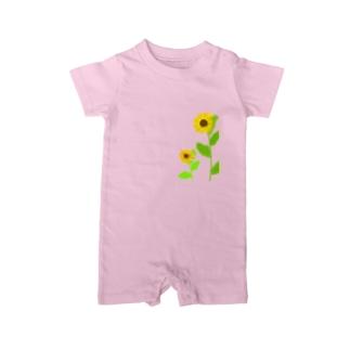 風に揺れる向日葵 Baby Rompers