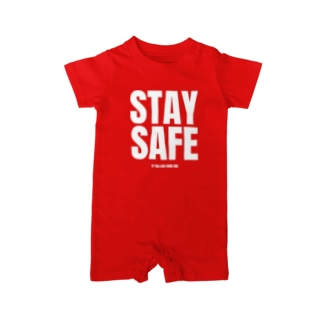 STAY SAFE IF YOU LOVE SOME ONE / ホワイトプリント フロント Baby Rompers