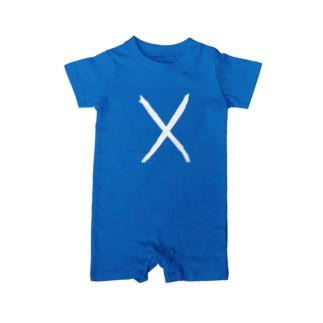 手書きスコットランド国旗 Baby rompers