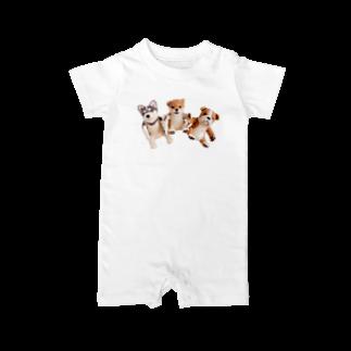 Handmade by Caranfeeのワンワンワン Baby rompers
