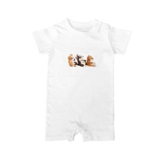 I ♥ dogs 柴犬 シベリアンハスキー ブルドッグの 仲良しトリオ(白文字Ver.) Baby rompers