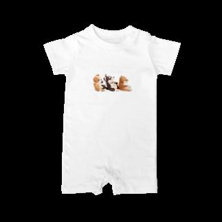 Handmade by CaranfeeのI ♥ dogs 柴犬 シベリアンハスキー ブルドッグの 仲良しトリオ(白文字Ver.) Baby rompers