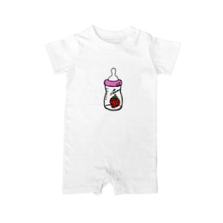 哺乳瓶いちご(ピンク) Baby rompers