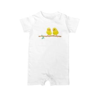 幸せの黄色いセキセイインコ Baby rompers