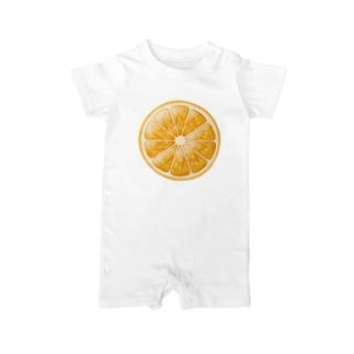 輪切りオレンジのワンポイント Baby Rompers