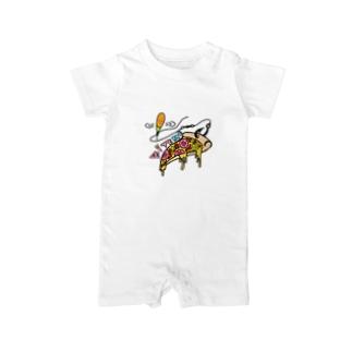バイトミー ピザTシャツ Baby rompers