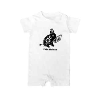 黒い小梅うさぎ PC作業 Baby rompers