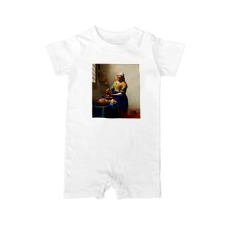 フェルメール「牛乳を注ぐ女」(加工済) Baby rompers