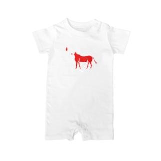 リーゼント燃えてるよ ~赤と白の馬ver.~ Baby rompers