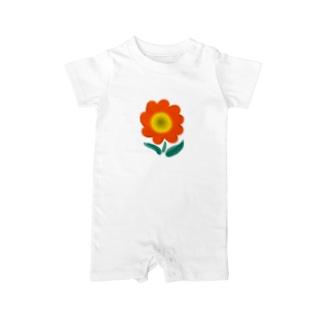 花ーオレンジ Baby rompers