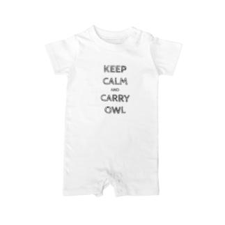 令和は静かにフクロウを据えて…keep calm and carry owl Baby rompers