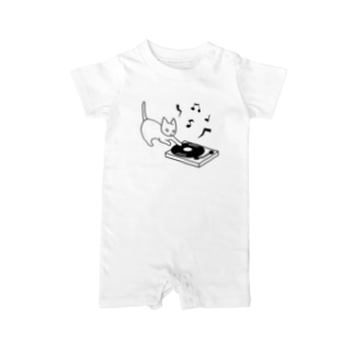 Let's play the music - Record player(black) Baby rompers