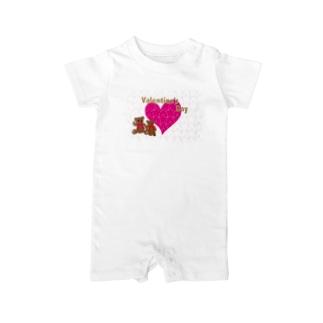 バレンタインのピンクのハートとテディーベアのカード Baby rompers