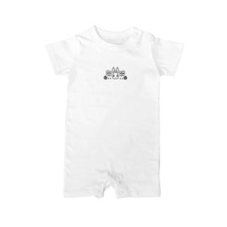 うさぎ石鹸ロゴ(白) Baby rompers