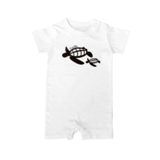 Turtle-Black Baby rompers