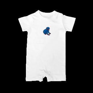 ジルトチッチのデザインボックスの今日もよろしくお願いしますだのブルーモンキー Baby rompers