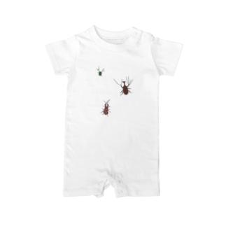 カブトムシとクワガタとカナブン Baby rompers