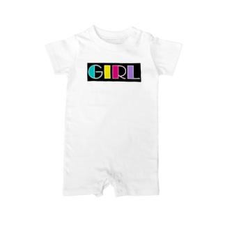 レトロカラフル GIRL Baby rompers