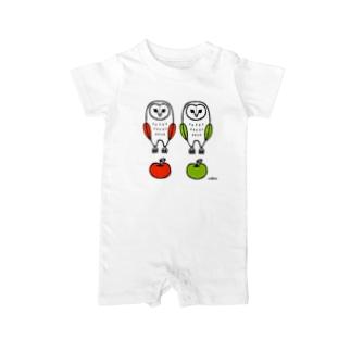 フクロウとリンゴ Baby rompers