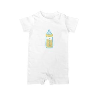 哺乳瓶でミルク飲むよ Baby rompers