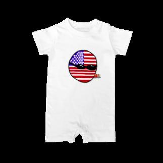 ポーランドボール×カントリボールグッズ商品店のUSAあめりかボール(アメリカボール)  Baby rompers