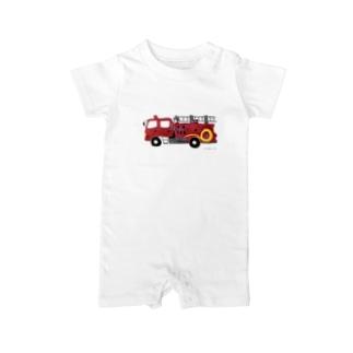 赤い消防車 Baby rompers