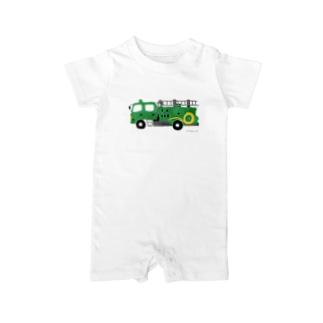 緑の消防車 Baby rompers