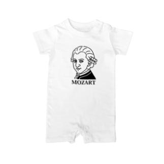 モーツアルト Mozart イラスト 音楽家 偉人アート モーツァルト ストリートファッション Baby rompers