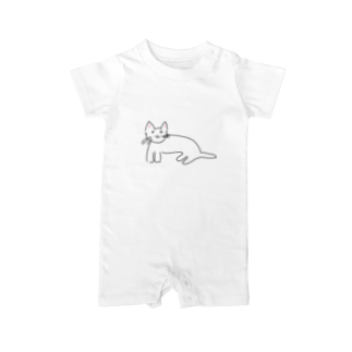 くまくまのおばあちゃんが描いた猫ちょん Baby rompers