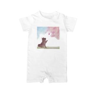 柴犬と桜 Baby rompers