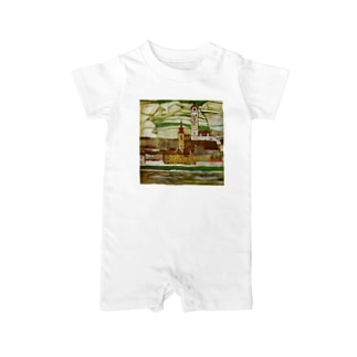 Art Baseのエゴン・シーレ / 1913 /Stein on the Danube, Seen from the South / Egon Schiele Baby rompers
