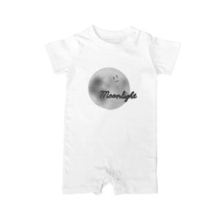顔つき月【モノクロ】 Baby rompers
